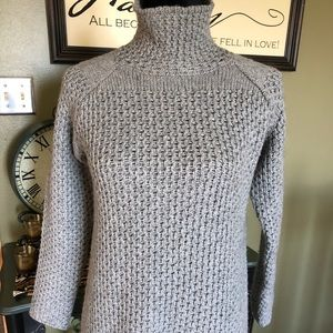 Zara Knit Grey Mock T-Neck Pullover Sweater